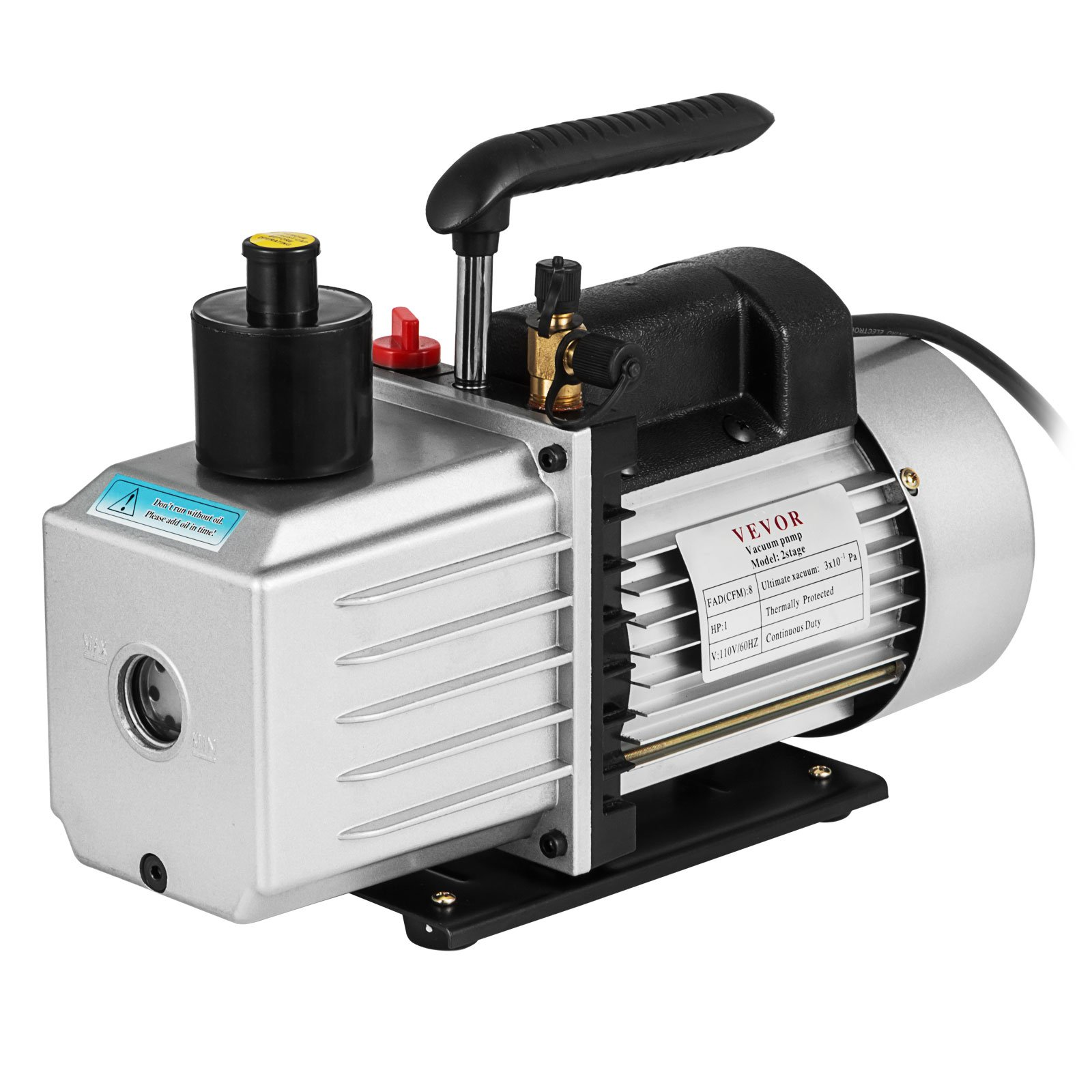 VEVOR Vacuum Pump 8CFM 1HP Two Stage HVAC Rotary Vane Vacuum Pump Wine Degassing Milking Medical Food Processing Air Conditioning Auto AC Refrigerant Vacuum Pump (2-Stage, 8CFM) by VEVOR (Image #1)