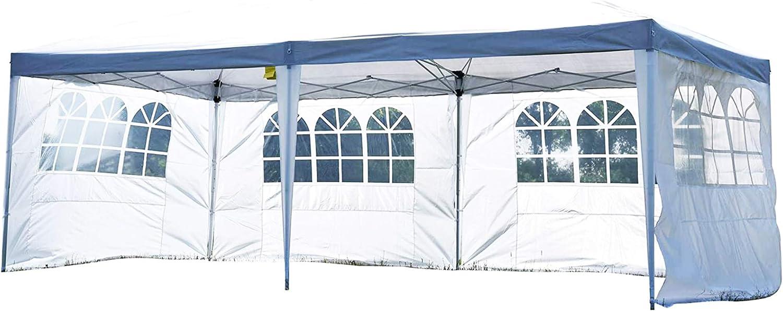 Outsunny Carpa Pabellon 6x3 Metros Plegable 4 Paneles Ventanas Poliester Blanco Resistente de Agua