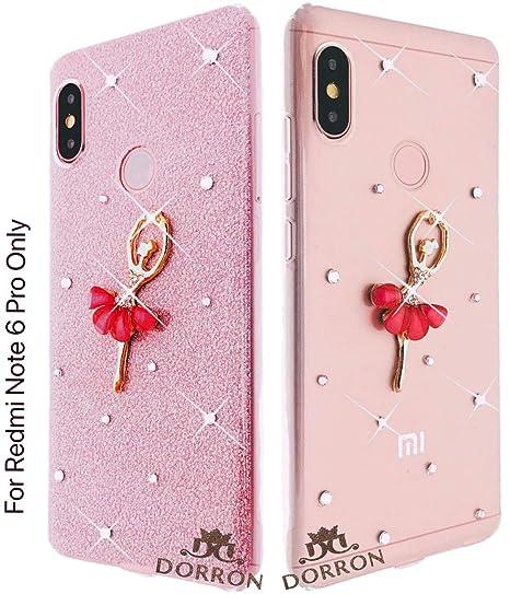 official photos 84bf4 d8f5a DORRON Designer Glitter Bling Girls Soft TPU Back Case Cover for Mi Xiaomi  Redmi Note 6 Pro (Rose Gold_Dancing Girl)
