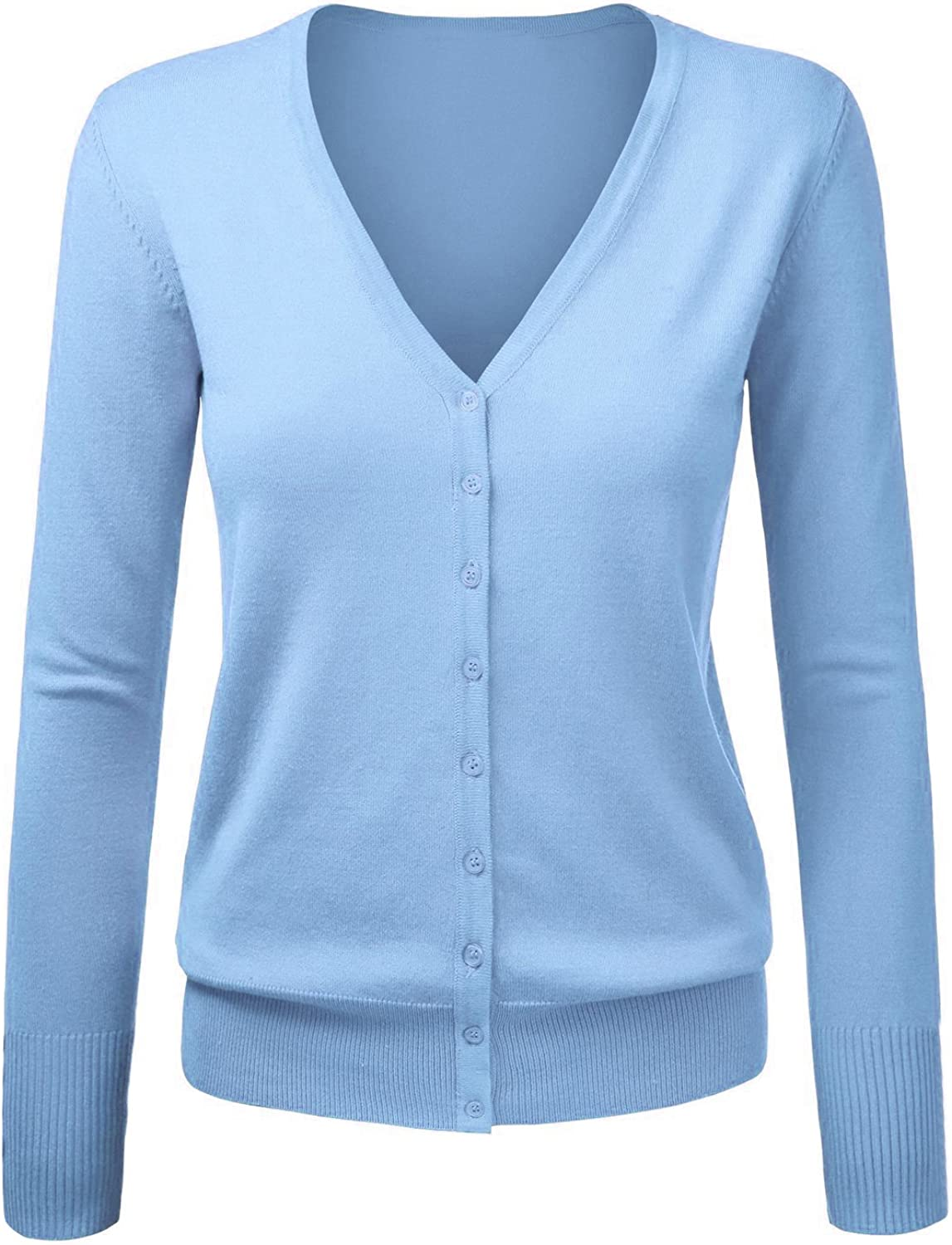 VOBAGA Womens O-Neck Button Down Long Sleeve Cardigan Sweater