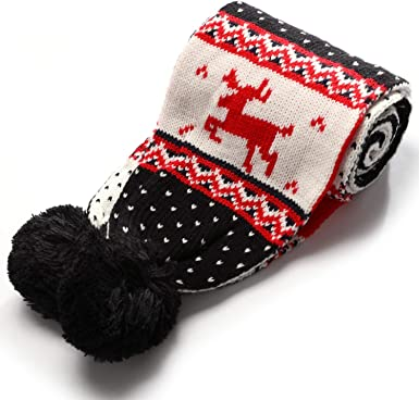 Neck Warmers Winter Scarfs Christmas Reindeer Design Soft Fleece Men Accessories