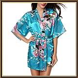 Satin Floral Kimono Robes for Women,Elegant Short