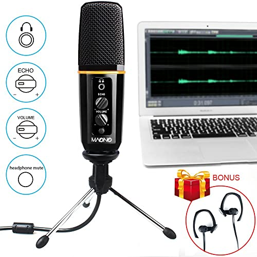 MAONO AU901 USB Microphone with Headphone Monitoring Echo Volume Control Zinc Alloy Podcast Vocal Condenser Mic