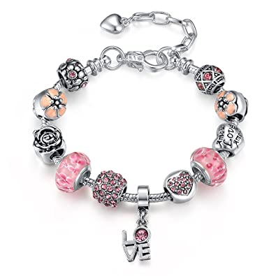 Anson&Hailey Sterling Silver Plated Love Beads Charms Bracelet for Girls and Women Gift DdrvHBDq8X