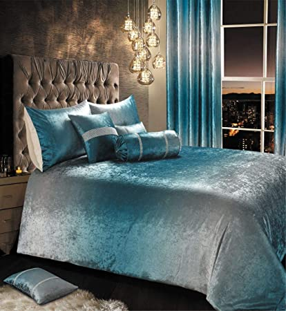 IHIdirect Luxury Crushed Velvet Ombre Teal Blue Silver ...
