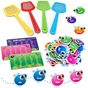 SpringFlower Sight Word Game, Swat a Sight Word Educational Toy for Age of 3,4,5,6 Year Old Kids, Boys & Girls, Visual, Tactile and Auditory Learning, 120 Pieces