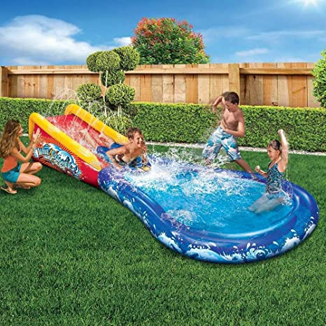 Amazon.com: Tobogán de agua y piscina inflable Wave ...