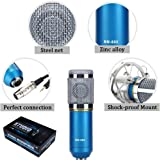 Generic Sound Studio Recording Dynamic Professional Condenser Microphone Set, Blue (Requires phantom power connection)