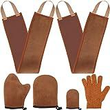 6 Pieces Self Applicator Kit, Include Exfoliating Glove, Tanning Mitt, Bath Mitt, Mini Face Mitt and Back Lotion Applicators (Brown and Orange)