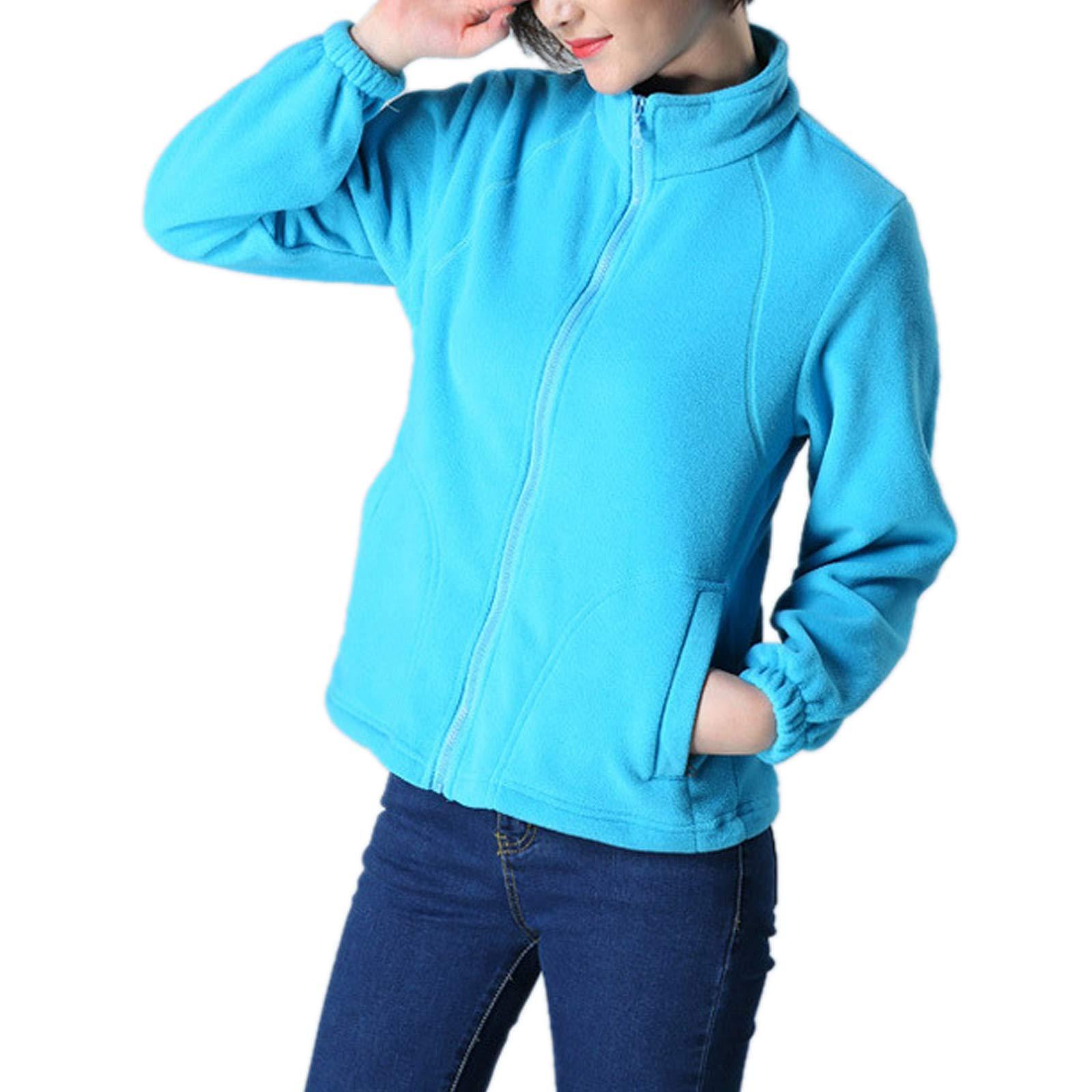 ZumZup Womens Fleece Jacket Full Zip Stand Collar Sportwear Top Outwear Azure1 Bust 40.9''(Asie XL) by ZumZup