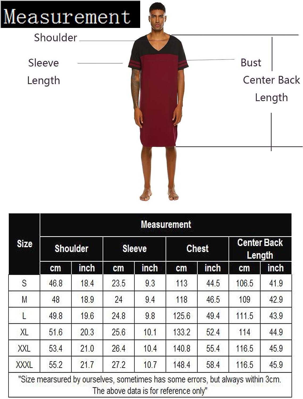 Skione Camicia da Notte in Cotone Uomo di Grandi Dimensioni Sciolto Camicia da Notte