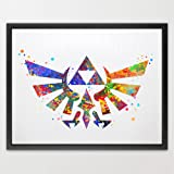 Dignovel Studios 11X14 Hyrule Crest Legend of Zelda Modern Link Inspired Watercolor Art Print Wall Art Hanging Home Decor Boys Room Art Motivational art Inspirational N006