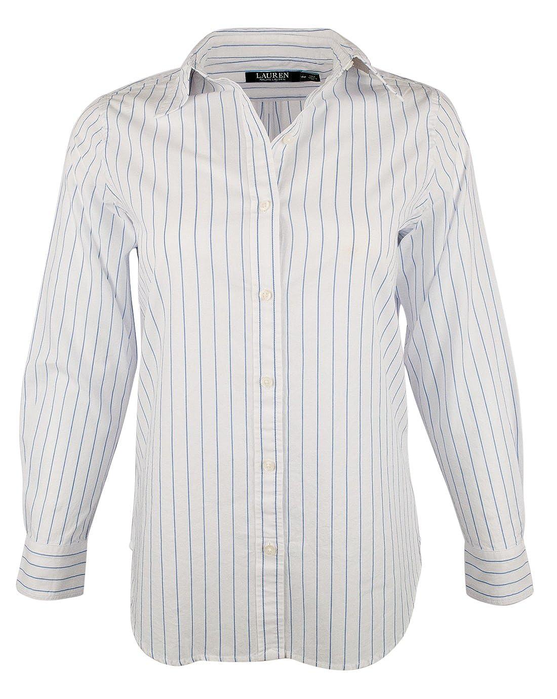 Lauren by Ralph Lauren Women's Petite Striped Long Sleeve Shirt