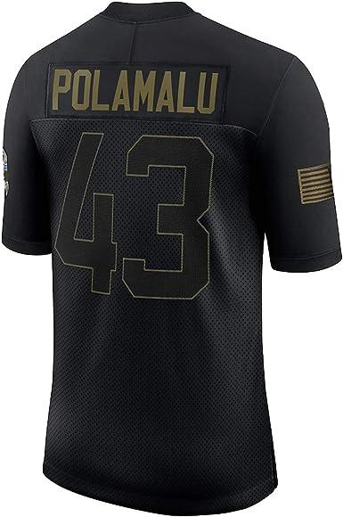 Custom American Football T-Shirts Troy Pittsburgh #43 Steelers Polamalu 2020 Salute To Service Retired Limited Jersey Atmungsaktiv Sweatshirt f/ür Herren Schwarz