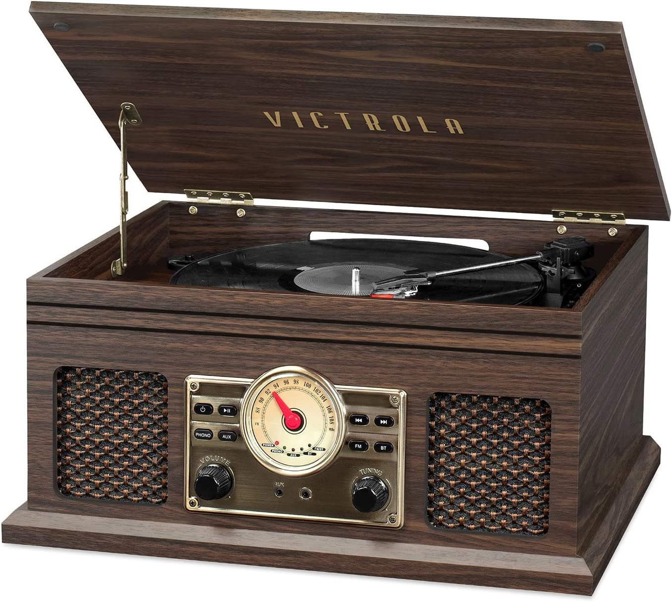 Victrola 4-in-1 Nostalgic Bluetooth Record Player with 3-Speed Record Turntable and FM Radio, Espresso