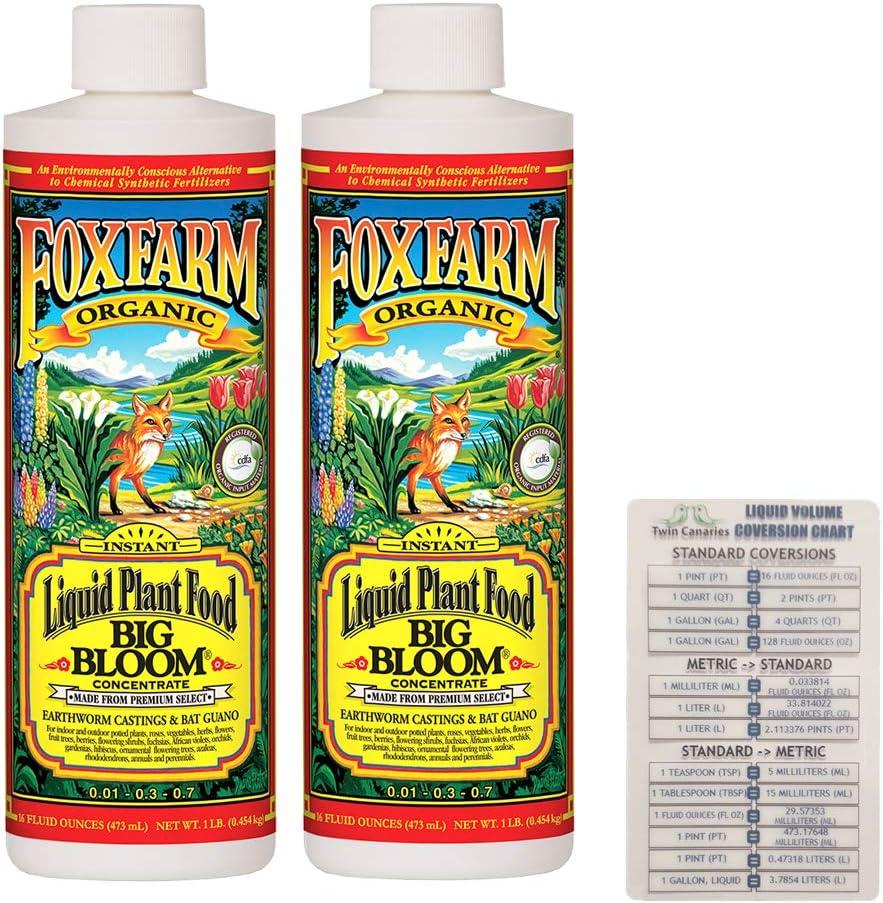 FoxFarm Big Bloom Liquid Concentrate, 16 oz (2 Pack) + Twin Canaries Chart