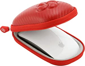Koonice Hard Case Compatible for Apple Magic Mouse (I and II 2nd Gen) Including Carabiner (Red)