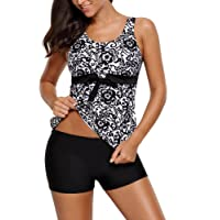 Aleumdr Womens Floral Print Bowknot Padded Tankini Top 2pcs Swimsuits Set with Boyshorts