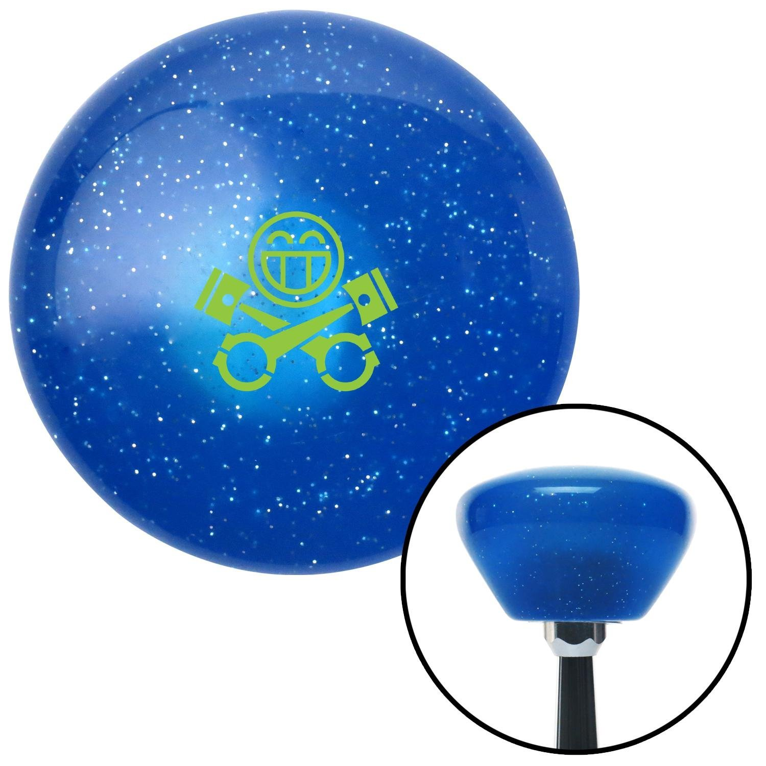 American Shifter 289780 Shift Knob Green Smiley Pistons Blue Retro Metal Flake with M16 x 1.5 Insert