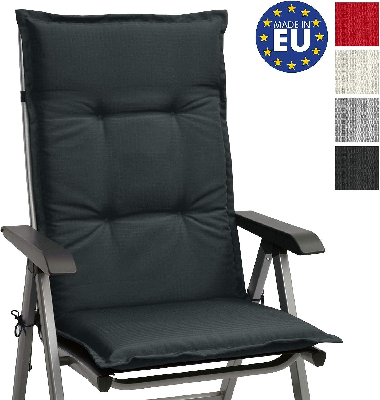 Beautissu cojín para sillas de Exterior, tumbonas, mecedoras o Asientos con Respaldo Alto Base HL 120x50x6 Placas compactas de gomaespuma - Gris Grafito
