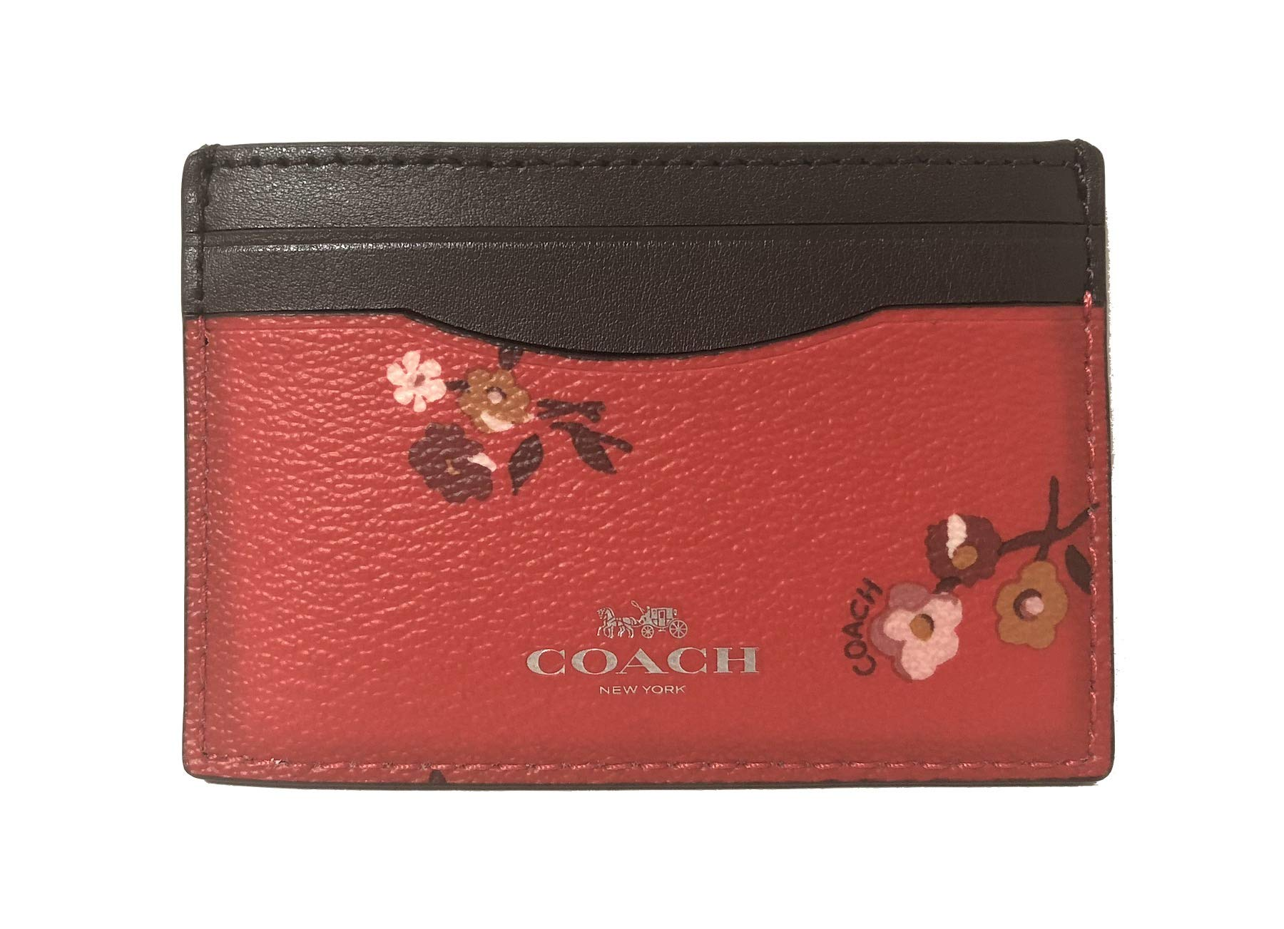 Coach Signature PVC Card Case (SV/Bright Red Multi)