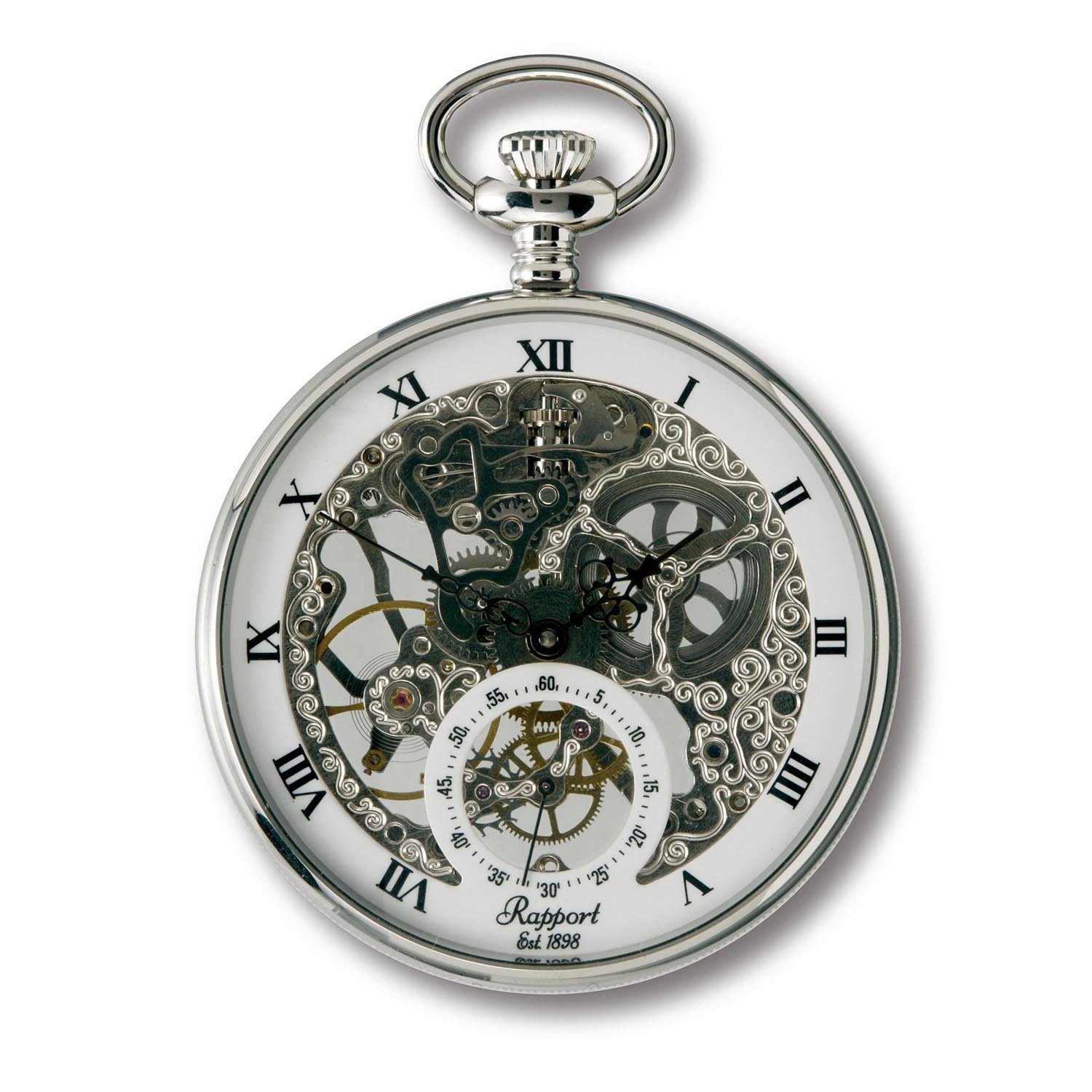 Vintage Pocket Watch with Chain by Rapport - Classic Oxford Skeletonized Open Face Pocket Watch with Sub-Seconds - Silver by Rapport