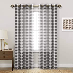 Hiasan Buffalo Plaid Sheer Curtains - Light Filtering Voile Checkered Curtains for Living Room and Bedroom, 52 X 84 Inches Long, Set of 2 Window Curtain Panels, Black and White