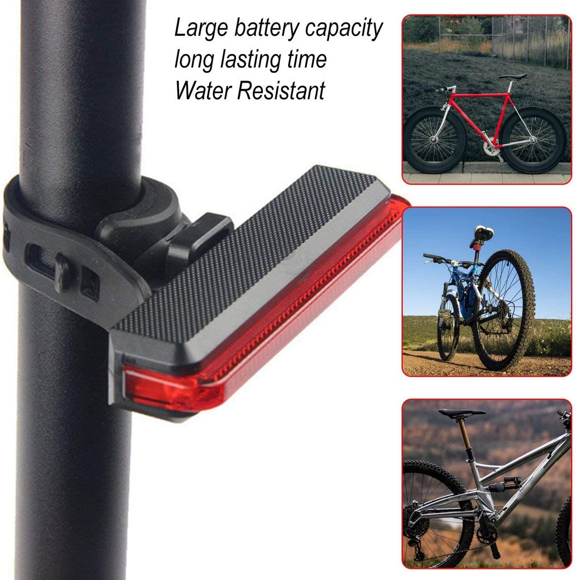 rot Sunnyflowk batteriebetriebenes Fahrrad R/ückleuchte R/ücklicht LED Fahrrad-Sicherheits-R/ücklicht wasserdicht LED-Fahrrad-Fahrrad-Sicherheits-Licht