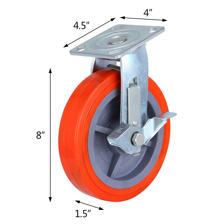 orangea andamio ruedas 8 x 2 pulgadas Heavy Duty giratorio ruedas andamios Poliuretano rueda con freno juego de 4 ruedas del andamio capacidad con ruedas ...