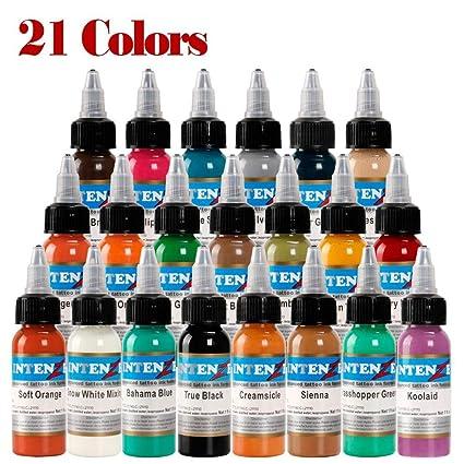 LregonXawk Alta Calidad 21 Piezas De Tinta De Tatuaje 14 Colores ...