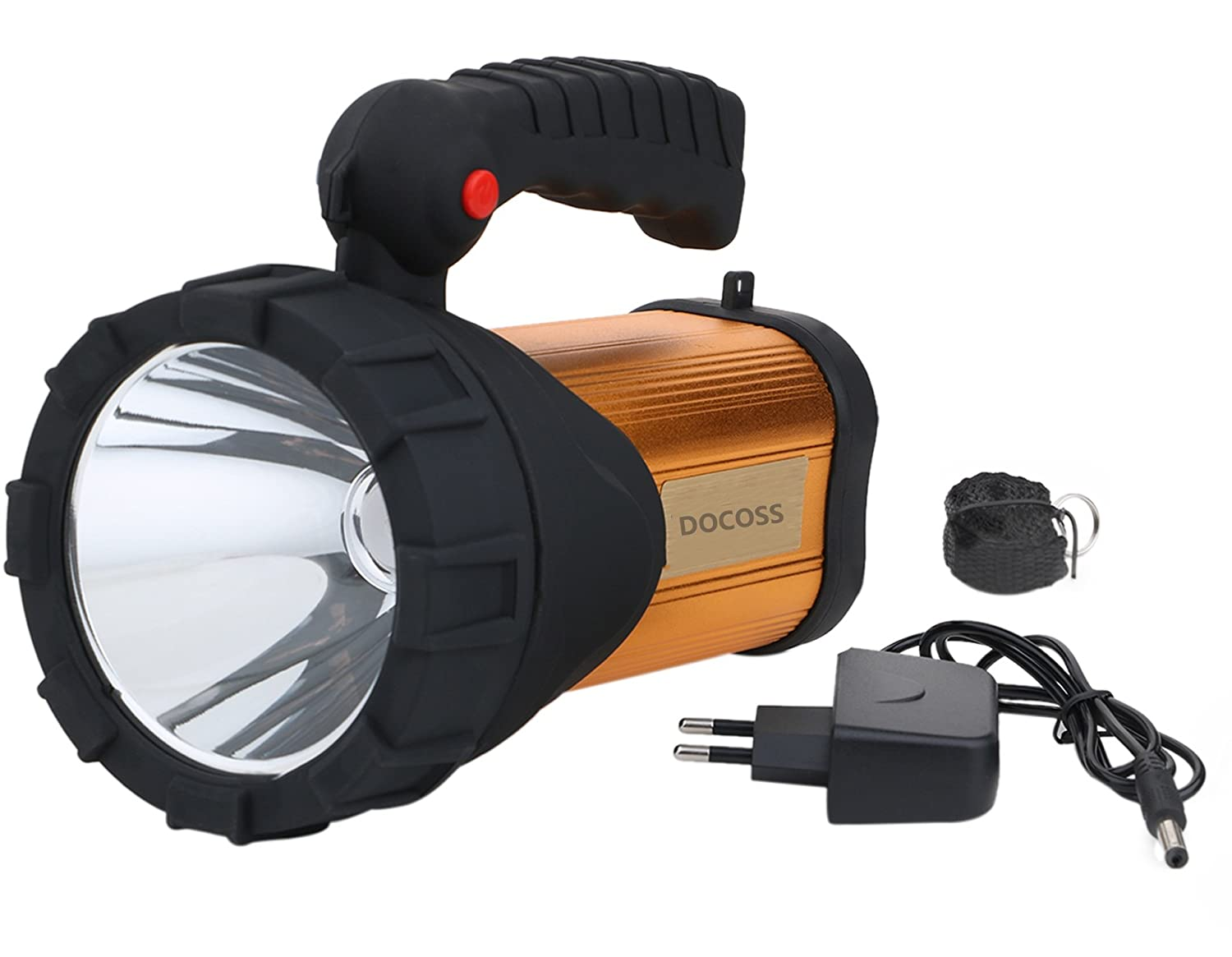 Docoss- Metal 40 W Rechargeable Waterproof Bright LED Torch Light