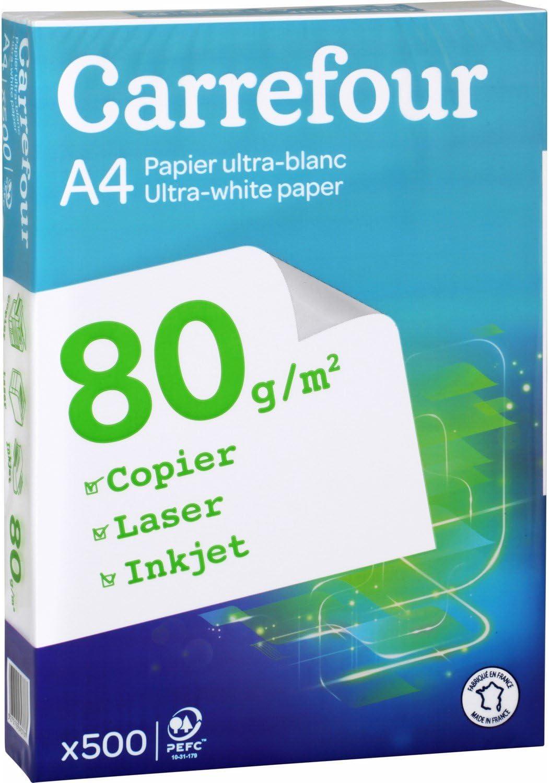 Carrefour 3270192693787 A4 (210×297 mm) Blanco - Papel (A4 (210x297 mm), Universal, Blanco, 80 g/m², 500 hojas): Amazon.es: Oficina y papelería