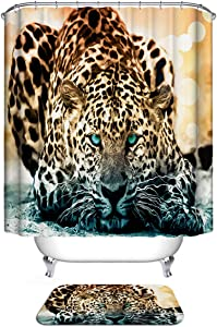 Dodou Animals Digital Printing Animal Shower Curtain Art Bathroom Decor Snow Leopard Design Polyester Waterproof Fabric Bathroom Accessories with Hooks(72''Wx72''H )