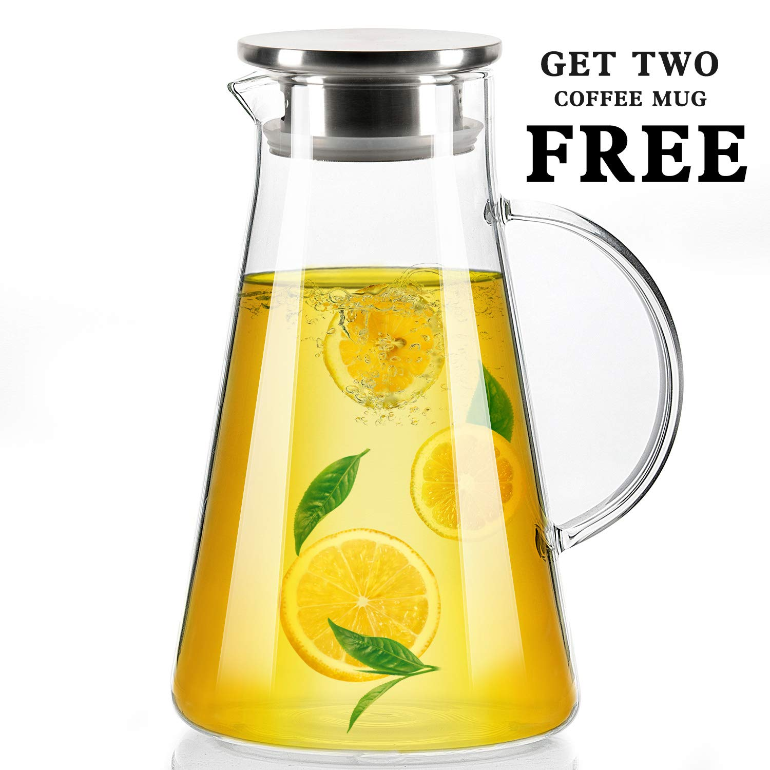 68 Oz Glass Water Pitcher with Stainless Steel Lid, Beverage Jug for Juice Lemon Water Iced Tea, Water Carafe with Handle, 2.0 Liter