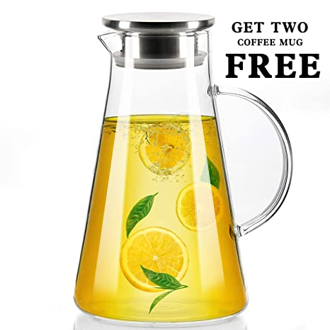 Amazoncom 68 Oz Glass Water Pitcher With Stainless Steel Lid