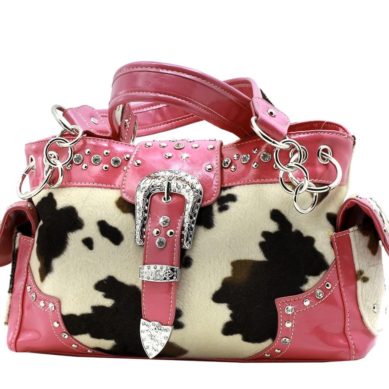 Concealed Carry Pistol Gun Weapon Handbag Purse Wallet Cow Print Faux Fur