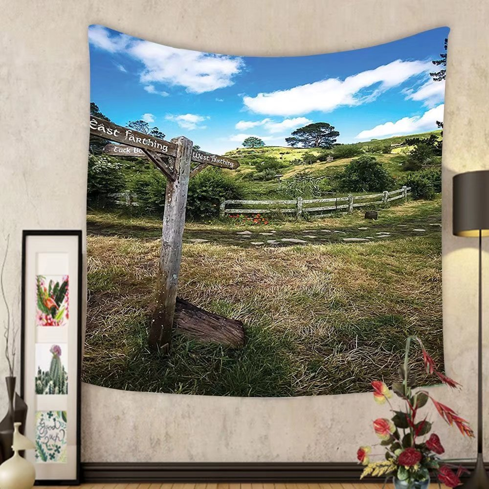 Gzhihine Custom tapestry Hobbits Tapestry Rustic Wooden Sign in Hobbit Land East West Farthing Movie Set New Zealand The Shire Bedroom Living Room Dorm Decor 60 W X 40 L Green Brown