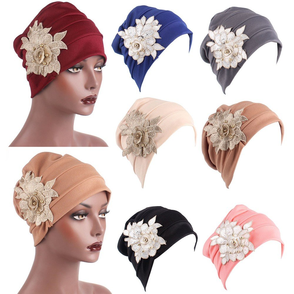 Women's Muslim Elastic Appliques Turban Hat Hair Loss Head Wrap Cap Chemo Cap Fashion Slouchy Hats for Women Navy by Tianjinrouyi Hats (Image #2)