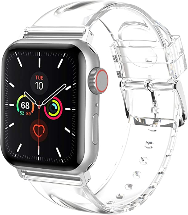 iiteeology Compatible with Apple Watch Band 42mm 44mm, Women Transparent Clear Soft Silicone Sports iWatch Band Strap for Apple Watch Series 6/5/4/3/2/1/SE (42mm 44mm clear band + silver connector)