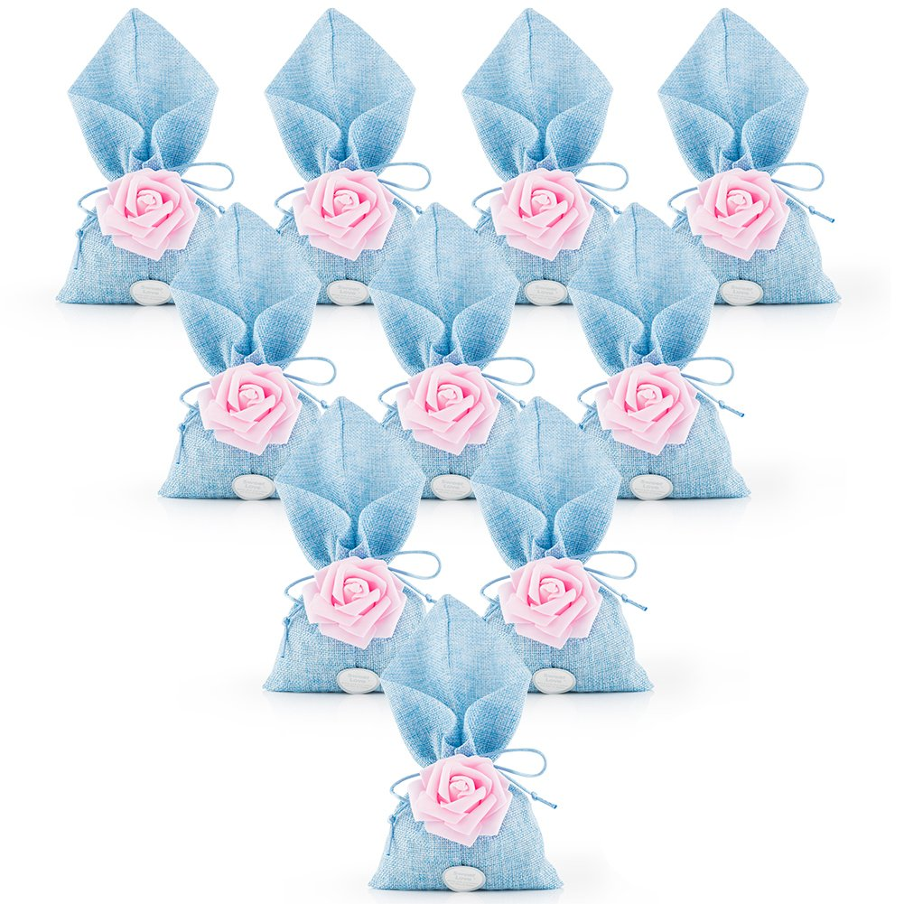 20pcs Burlap Bags with Drawstring Gift Pouches Rose Flower Jewelry Storage Package Sack for Wedding Bridal Shower Birthday Party Christmas Valentine's Day Favors DIY Craft, 10x5.1 Inch (Blue)