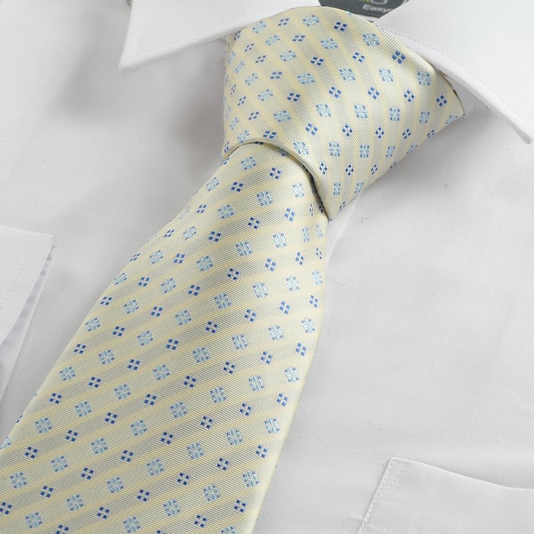 Beige geometric pattern tie