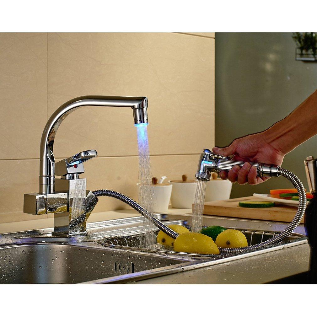 Auralum LED Kitchen Faucet Pull Out Sprayer 360 Degree Swivel Brass ...