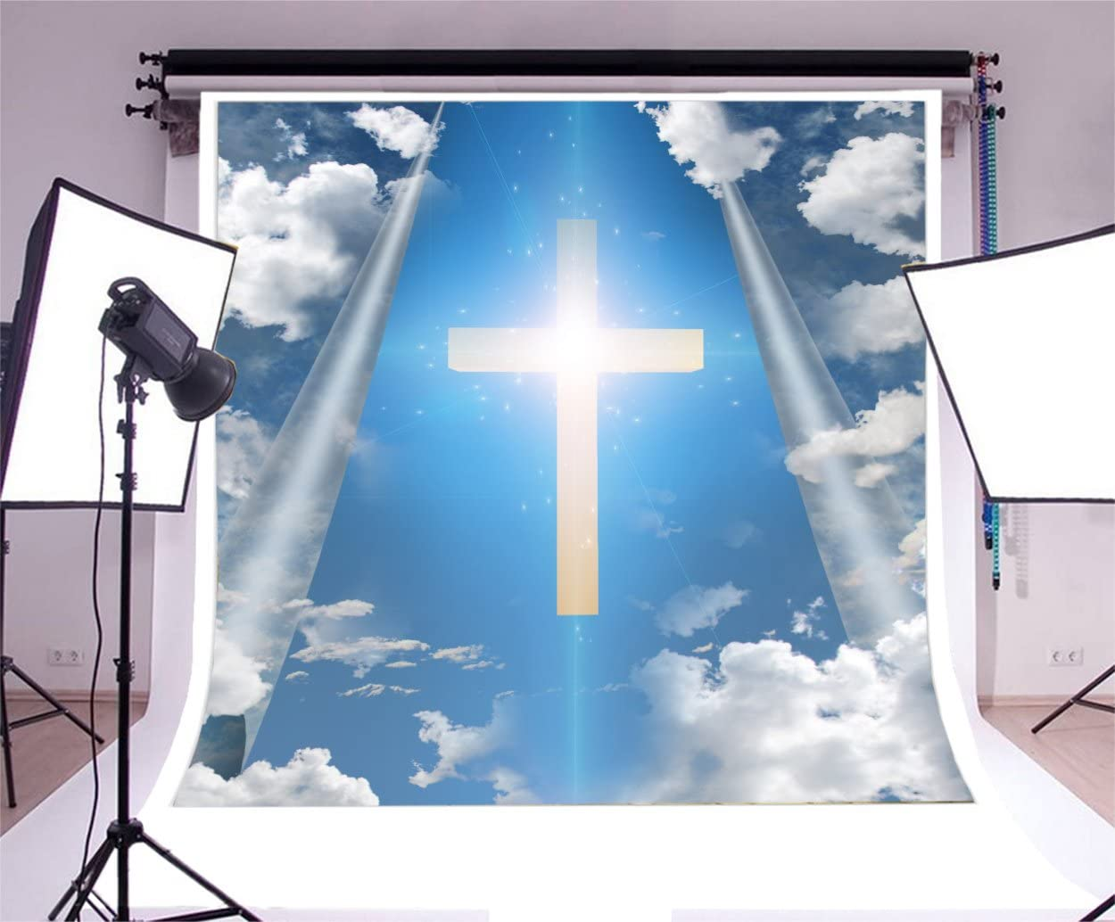 Wofawofa Wedding Ceremony Backdrop 10X8FT Vinyl Jesus Christ Cross Backdrops Fresh Flowers Cart Blue Sky White Cloud Green Grass Meadow Photography Background for Girls Lover Photo Studio Props EB54