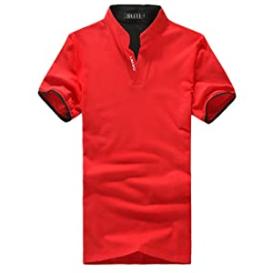 Allonly Men's Fashion Polo Shirt Slim Fit Short Sleeve V-neck T-Shirt Sweatshirt