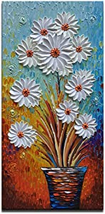 Azure Art-3d Hand Painted Painting Artwork White Daisy Flower Wall Art Vertical Wall Picture Canvas Art Framed Large Oil Painting for Living Room Bedroom Office Wall Decor (24x48inch)