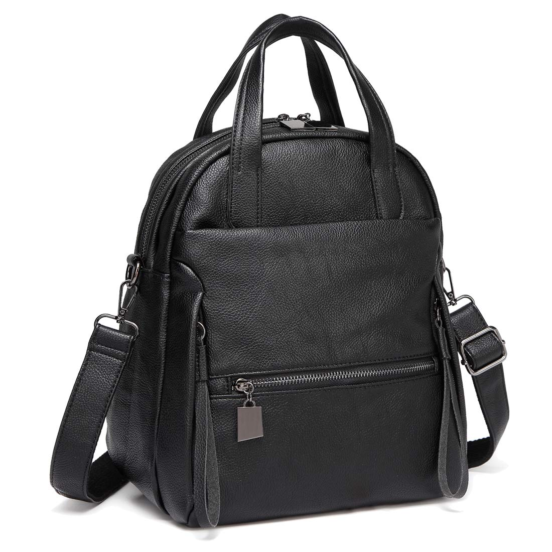 Kasqo Backpack Purse, Women Convertible Faux Leather Ladies Shoulder Bag Black