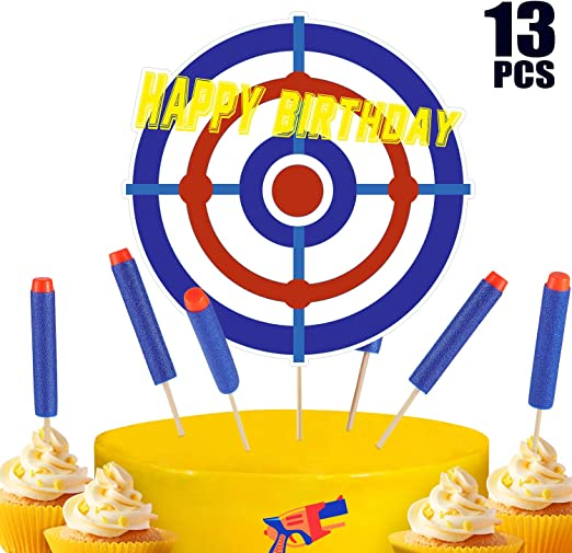 Amazon Com Blulu 13 Pieces Happy Birthday Cupcake Toppers Target