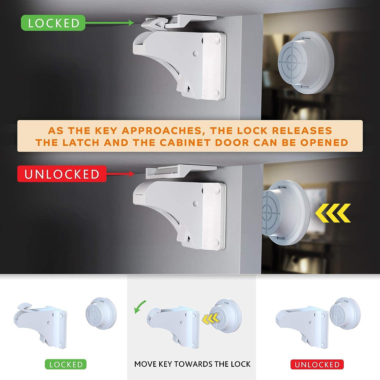 de 12 cerraduras y pestillos, 2 llaves de cierre magn/ético, 4 Kit DLUX magn/ético armario Locks para ni/ño protectores de esquinas seguridad no requiere taladro beb/é Prueba de cocina cajones y puertas