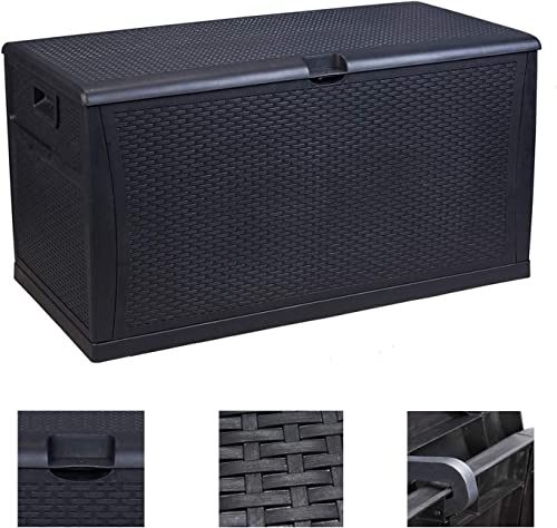 OVASTLKUY Large Deck Box Resin Indoor Outdoor Storage Container and Seat for Patio Cushions 120 Gallon Black