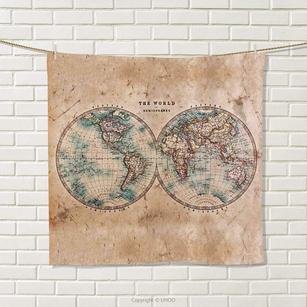 smallbeefly World Map Hand Towel The World in Hemispheres Vintage Old Map Design Geography History Theme Quick-Dry Towels Burly Wood Tan Blue Size: W 20'' x L 29''